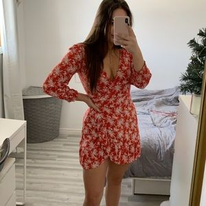 Red and White Floral Wrap Dress